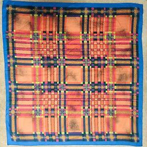 Vintage 60s 70s Blue Orange Lime Green Pink Purple Black Check Print Scarf
