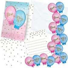 GENDER REVEAL BALLOONS BABY SHOWER PARTY SUPPLIES 8 INVITATIONS INVITE