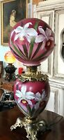 19th C. Jumbo Orchid Hand-Painted Kerosene Oil GWTW or Parlor Lamp Electrified