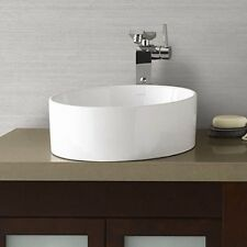 Ronbow Barrel 15 Inch Round Ceramic Vessel Bathroom Sink - White