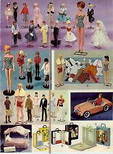 1963 PAPER AD 2 PG Barbie Doll Ken Sports Car Dream House Red Head Brunette