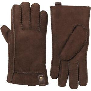UGG Men's 'SIDEWALL' Sheepskin Gloves, Chocolate XL - Genuine BNIB, RRP £105