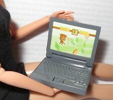 ACCESSORY ~ MATTEL BARBIE DOLL MINIATURE GRAY FAUX LAPTOP COMPUTER FOR DIORAMA