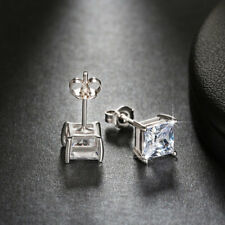 1 Carat Princess Cut CZ Crystal Rose Gold Filled Square Ear Stud Earring Jewelry