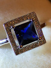 18ct  white gold filled Square shaped blue Topaz ladies ring size 8 us