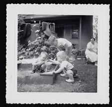 Old Antique Photograph Three Adorable Little Boys With Pail Playing in Sandbox