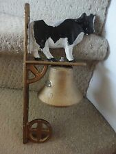 Solid Brass Bell With Cow Vintage Outside Wall Decor