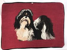 Lhasa Apso Dog Needlepoint Pillow Rectangle Velveteen Back w/Zipper Red Rare