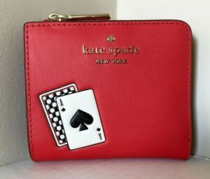 New Kate Spade Lucky Draws small L-zip Bifold wallet Leather Red multi