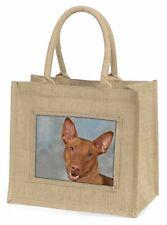 Pharaoh Hound Dog Large Natural Jute Shopping Bag Christmas Gift Idea, AD-PH1BLN
