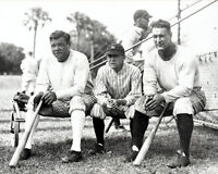1929 New York Yankees BABE RUTH, MILLER HUGGINS & LOU GEHRIG Glossy 8x10 Photo