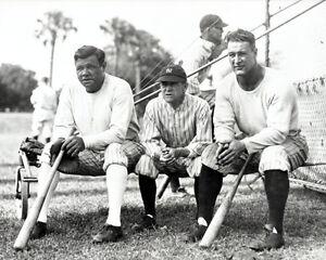 1929 New York Yankees BABE RUTH, MILLER HUGGINS & LOU GEHRIG 8x10 Photo Print