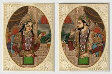Shahjahan Mumtaz Miniature Paintings Indian Historical Ivory Handmade Painting