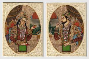 Shahjahan Mumtaz Miniature Paintings Indian Historical Ivory Handmade Painting