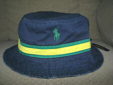 Men's POLO-RALPH LAUREN Reversible PONY Bucket Hat (s-M) Navy/ Patchwork