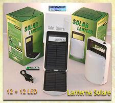 LAMPADA CAMPEGGIO 24 LED BATTERIA RICARICABILE DOPPIO PANNELLO SOLARE USCITA 5V