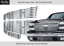 Fits 2006 Chevy Silverado 1500/2005-2006 2500HD Stainless Billet Grille Combo
