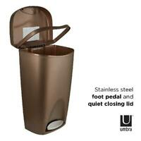 Foot Pedal Trash Can Large No Lid Touch Garbage Bin Indoor 13 Gallon Bronze New
