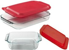 Pyrex 3qt Rectangular 2qt Square w/ Lid Glass bake Storage Set
