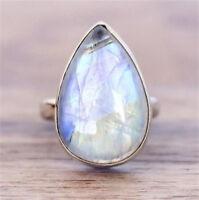 925 Silver Ring Drop Moonstone Men Women Jewelry Wedding Anniversary Size 6-10