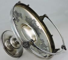 ANTIQUE 1868 REED BARTON SILVER PLATE ROMAN MEDALLION CAKE STAND BRIDES BASKET
