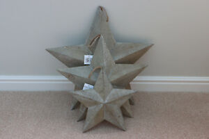 Natural Rustic Wooden Barn Stars 3 sizes With Hanging Jute String
