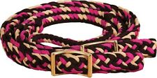 BARREL REINS - knotted Braided Flat Round Brown Pink Cream Trail Roping Mustang