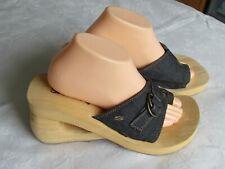 NEW Skechers Cali Ladies Blue Denim Wedge Mules Sandals Size 8 EU 41