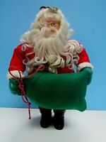 VINTAGE SANTA CLAUS  VELVET SUIT GREEN BAG - CERAMIC BOOTS  SPECTACLES  RARE 15""
