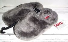 New Grey Woman Bongo Fuzzy Slip-On Slippers Size Small 5/6 Bedroon Slippers