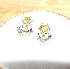 2.75 MM Yellow Sapphire Gemstone Stud earrings in Sterling silver