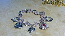 Charm Bracelet silvertone retired Kirks Folly Heart Of Hearts