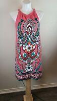New York & Company Women   Pink Multicolor Paisley   Midi Dress XL 100% cotton
