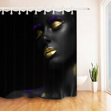 "Purple & Gold Makeup Black Girl Shower Curtain Set 71X71"" Waterproof Fabric Hook"