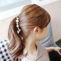 FJ- CO_ Women Girl Faux Pearl Hair Claw Banana Hairpin Ponytail Holder Barrette