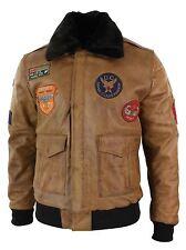 Mens Genuine Leather Air Force Pilot Bomber Jacket Tan Brown Badge Vintage Retro
