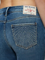 True Religion Women's Halle Skinny Fit Stretch Jeans w/ Crystals