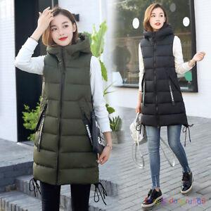 Womens Hooded Down Cotton Vest Waistcoat Long Jacket Sleeveless Coat XS-2XL