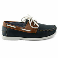 NEW MENS NAVY FAUX LEATHER LACE UP DECK BOAT CASUAL SHOES UK SIZE 7 8 9 10 11