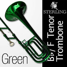 GREEN  Bb/F STERLING Trombone • High Quality • With Case • F-Key Trigger