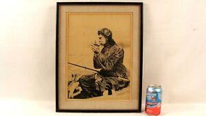 Antique Fisherman Smoking Pipe in Rowboat W/ Fish Ink Drawing