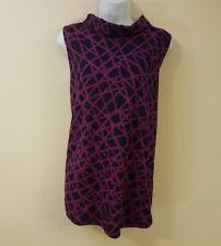 Alfani Womens Blouse XL Blue Tunic Geometric Print Sleeveless Red Mock Neck New