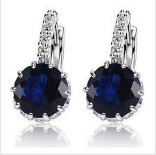 White Gold Plated Sapphire Crystal Ruby Cubic Zirconia Hoop Huggie Earrings Stud
