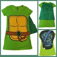TNMT Womens Holloween Costume T Shirt Small S Green Ninja Turtles w/Cape & Shell