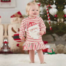Toddler Kids Baby Girls Stripe Santa Claus Christmas Party Dress Outfits Clothes