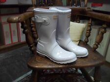 WHITE GLOSS SHORT  HUNTER WELLIES WELLINGTONS  IN HALIFAX SIZE 6 WOMENS LADIES