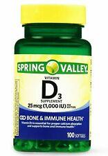 Spring Valley Vitamin D3 25 mcg 100 Softgels Immune & Bone Calcium Health Pills