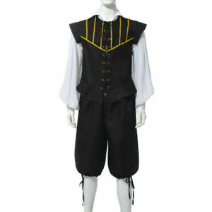 Blessume Renaissance Men 3 Piece Doublet Costume Poet Shirt and Breeches Cosplay