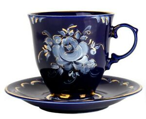 9 fl oz Porcelain Teacup & Saucer Handmade Gold Plated Gzhel Porcelain / ГЖЕЛЬ