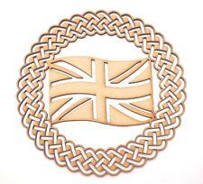 Wooden MDF Plaque Blank shape - Union Jack in Celtic ornamental round frame